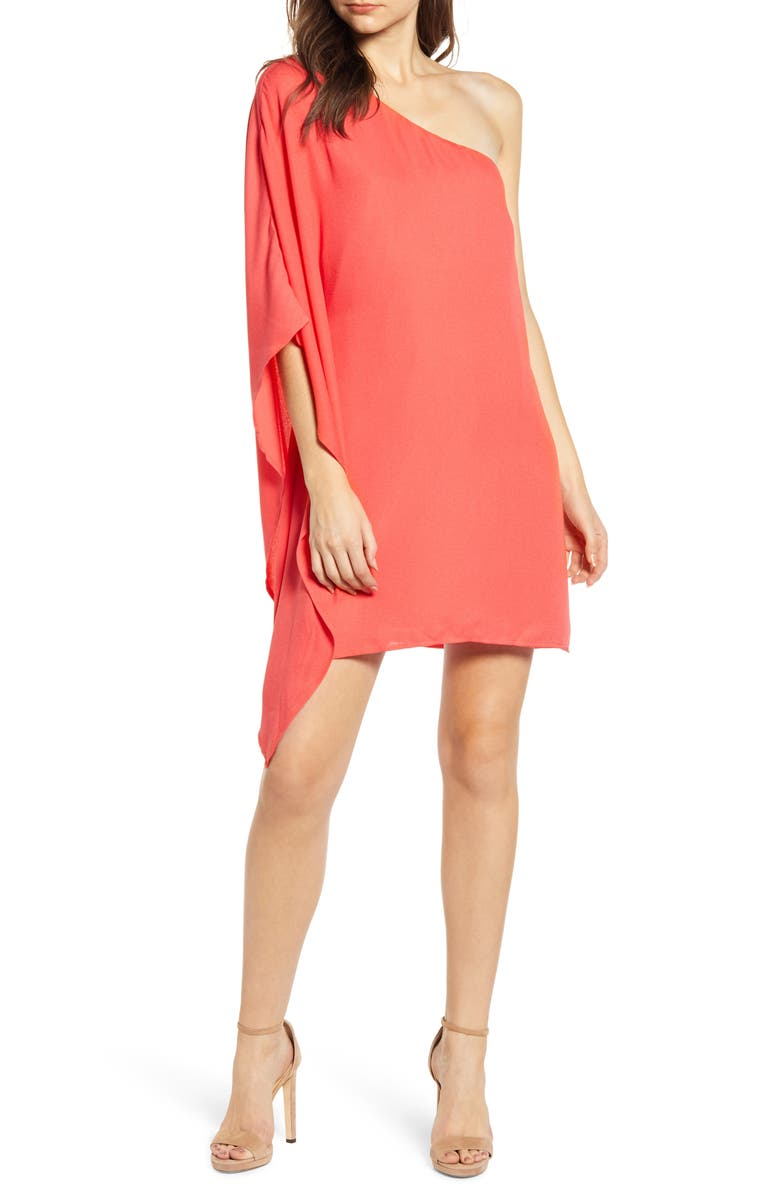 CUPCAKES AND CASHMERE One-Shoulder Crepe Dress, Main, color, HIBISCUS