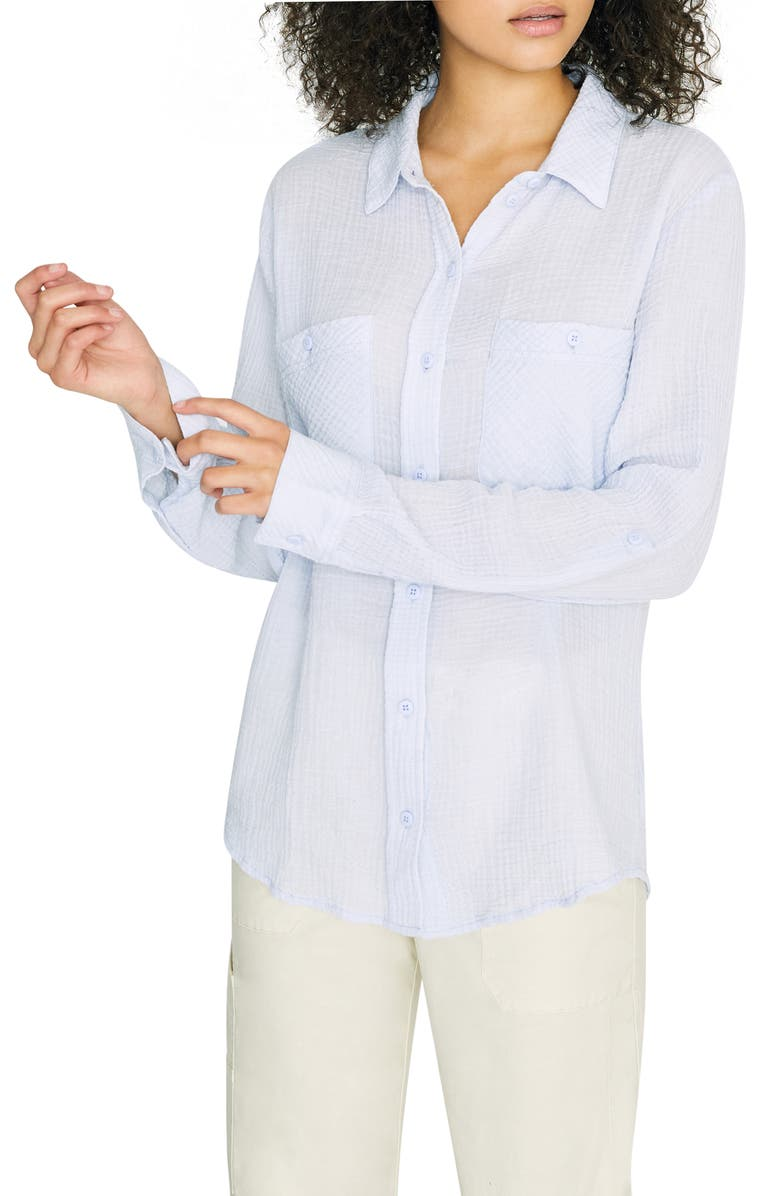 SANCTUARY Steady Boyfriend Roll Tab Shirt, Main, color, WASHED PERIWINKLE