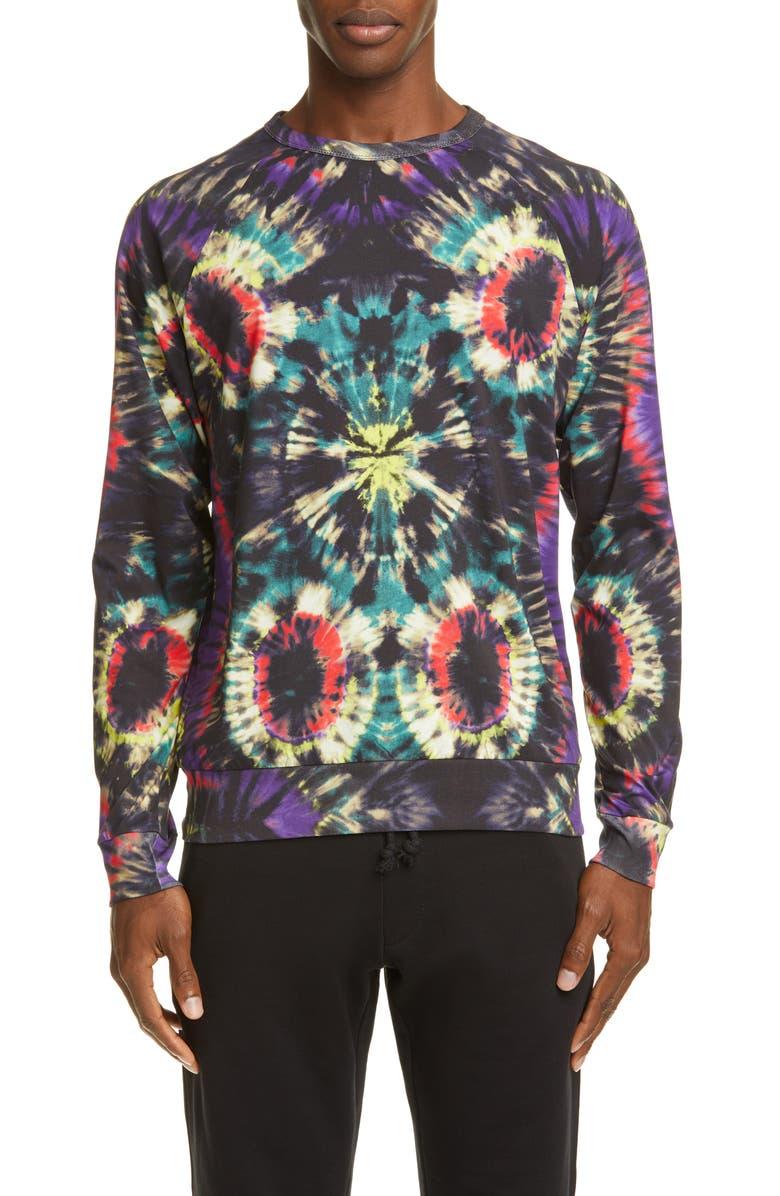 DRIES VAN NOTEN Tie Dye Long Sleeve T-Shirt, Main, color, PETROL