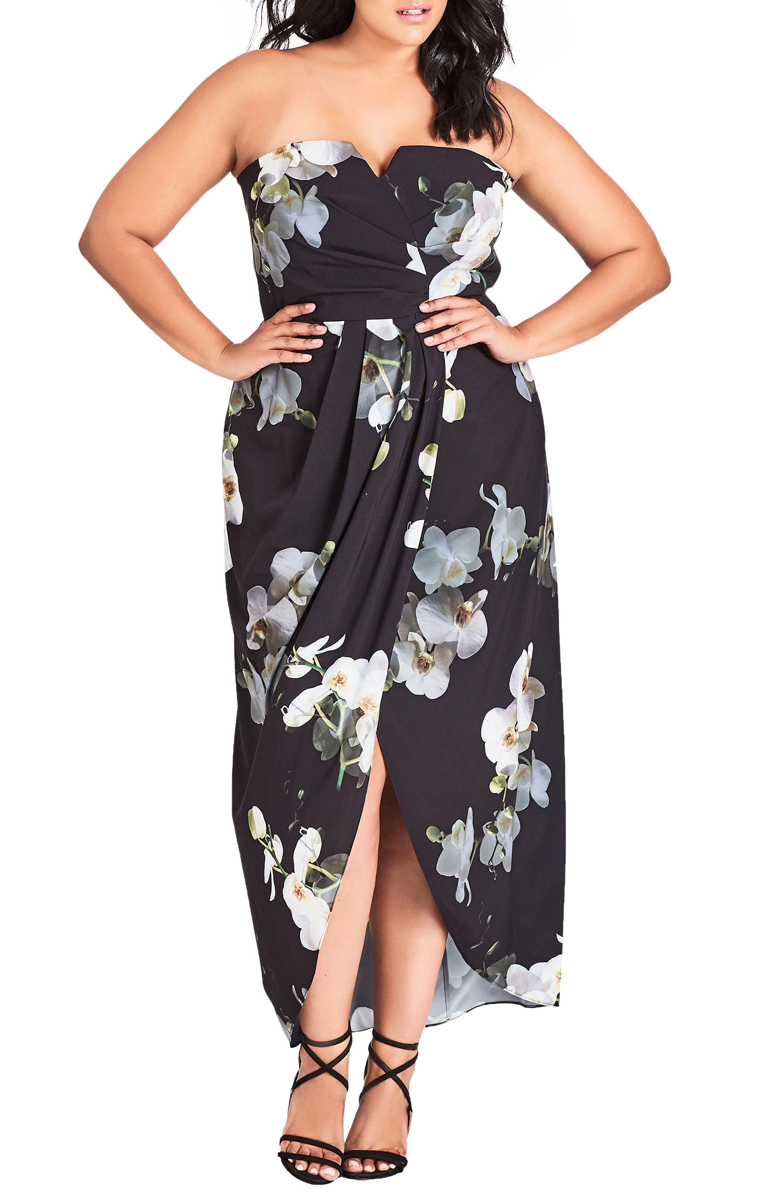 Plus Size City Chic Orchid Dreams Strapless Maxi Dress, Black