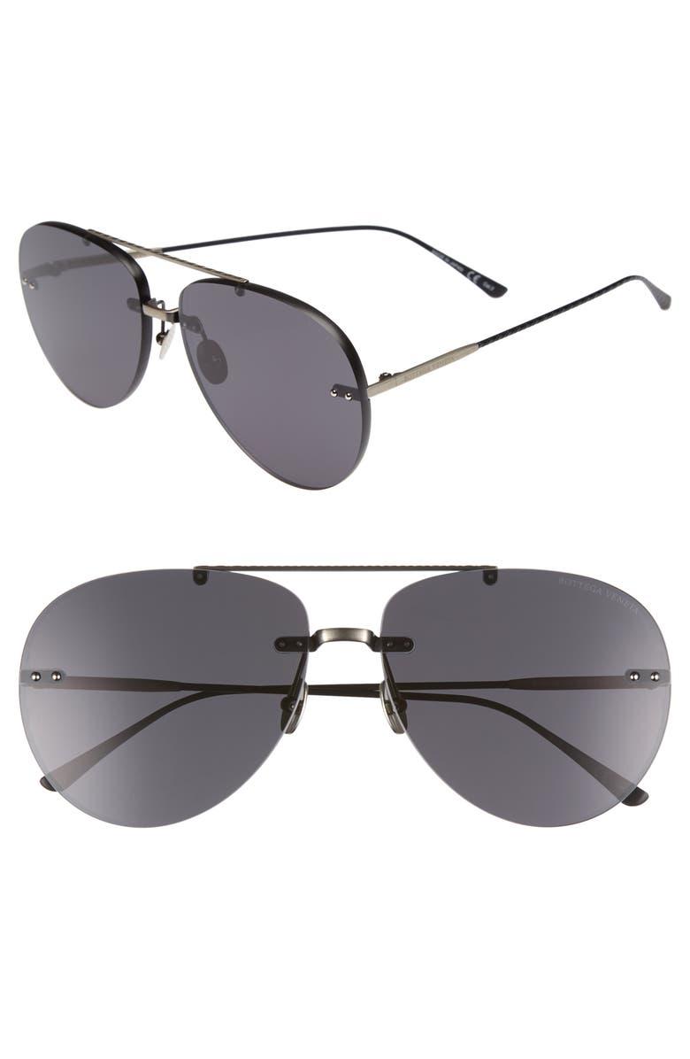 BOTTEGA VENETA 63mm Aviator Sunglasses, Main, color, 040