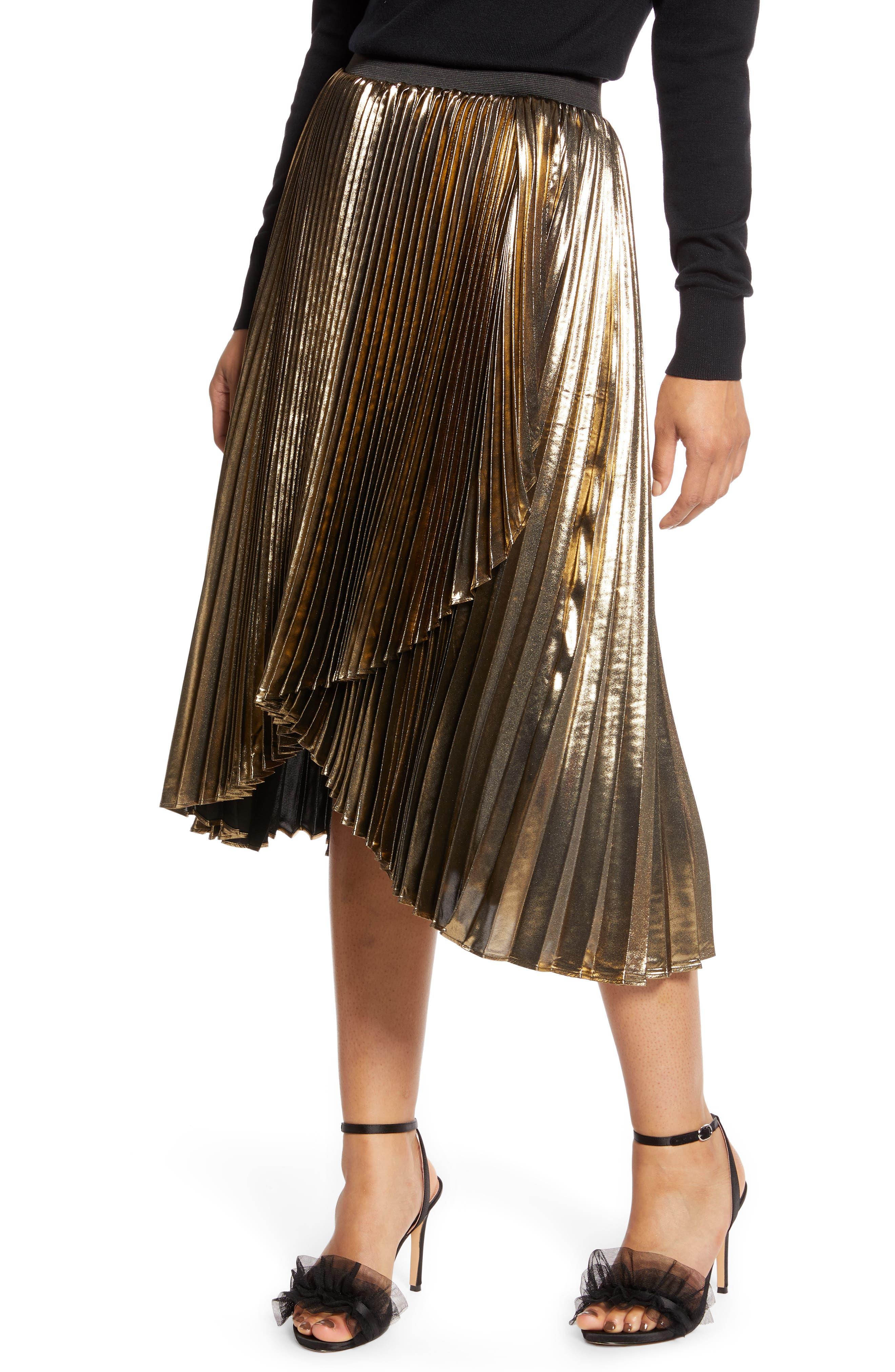 Halogen® x Atlantic-Pacific Waterfall Lamé Skirt (Nordstrom Exclusive)