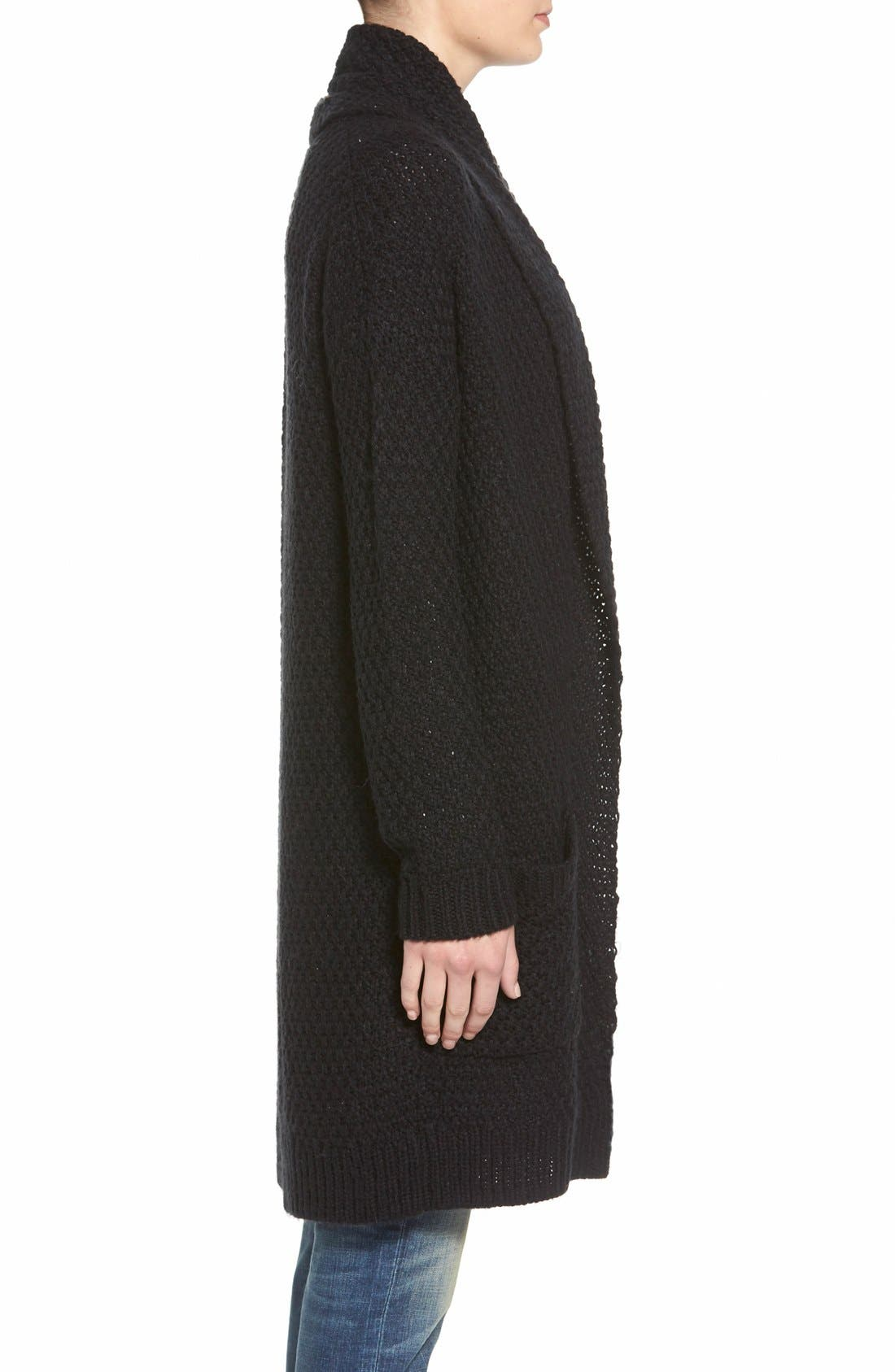 ,                             Marled Long Open Front Cardigan,                             Alternate thumbnail 3, color,                             001