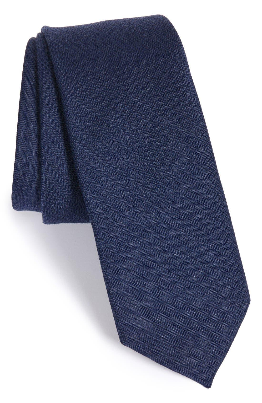 Solid Wool & Silk Tie, Main, color, NAVY