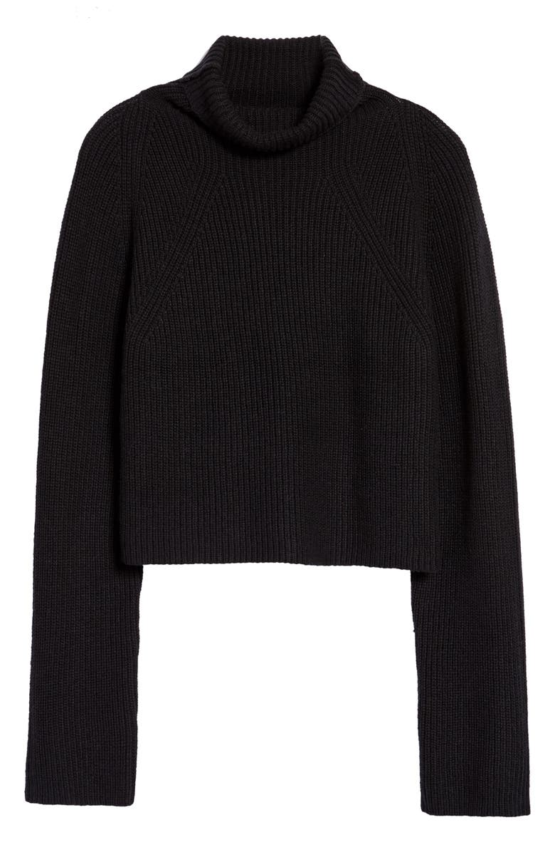 LEITH Transfer Stitch Turtleneck Sweater, Main, color, 001