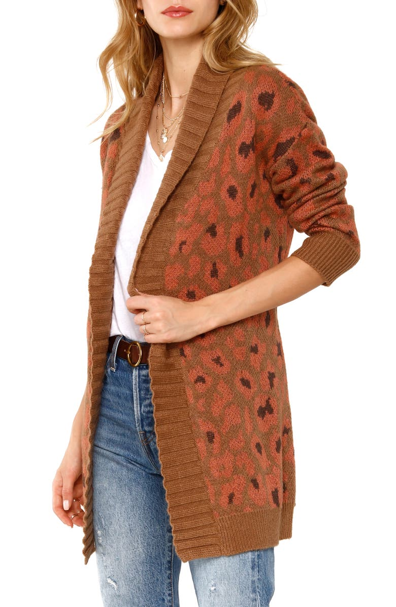 HEARTLOOM Cameron Belted Leopard Cardigan, Alternate, color, TAUPE
