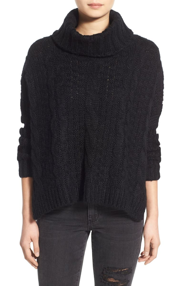 DREAMERS BY DEBUT Cable Knit Turtleneck Sweater, Main, color, 001