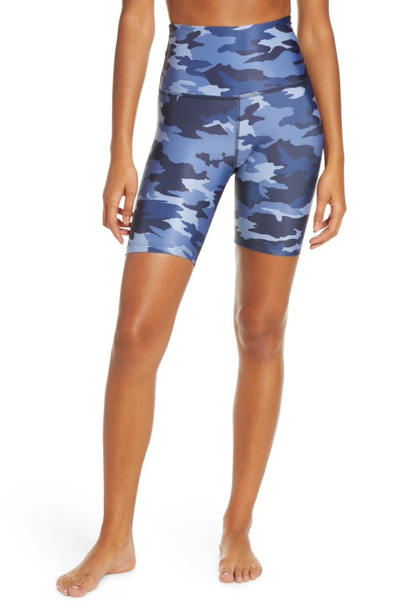 BEYOND YOGA Lux Camo High Waist Biker Shorts, Main, color, BLUE CAMO