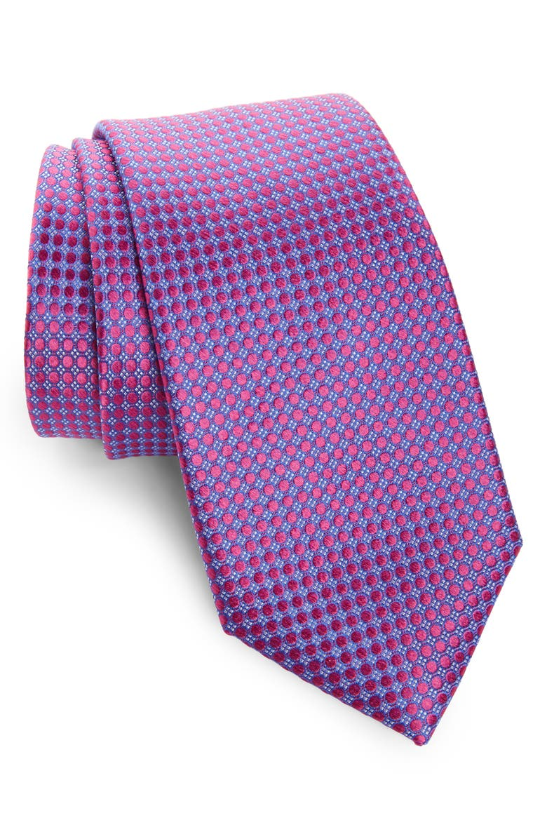 NORDSTROM MEN'S SHOP Alana Geometric Silk Tie, Main, color, WATERMELON