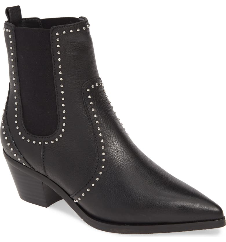 PAIGE Willa Studded Chelsea Boot, Main, color, BLACK LEATHER