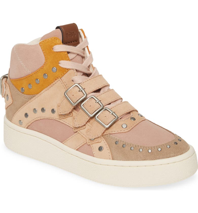 COACH C219 High Top Sneaker, Main, color, BEECHWOOD MULTI SUEDE