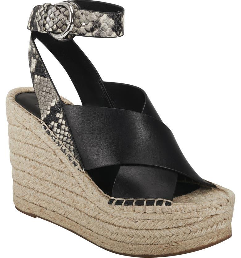 MARC FISHER LTD Abacia Wedge Sandal, Main, color, BLACK LEATHER