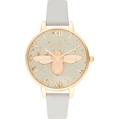 Olivia Burton Celestial Bee Leather Strap Watch,