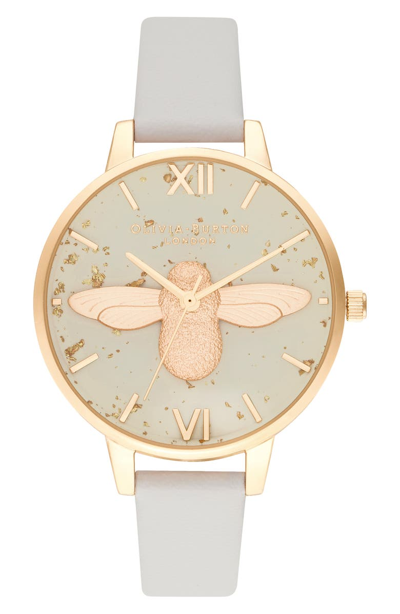 OLIVIA BURTON Celestial Bee Leather Strap Watch, 34mm, Main, color, PINK/ GLITTER/ BEE/ GOLD