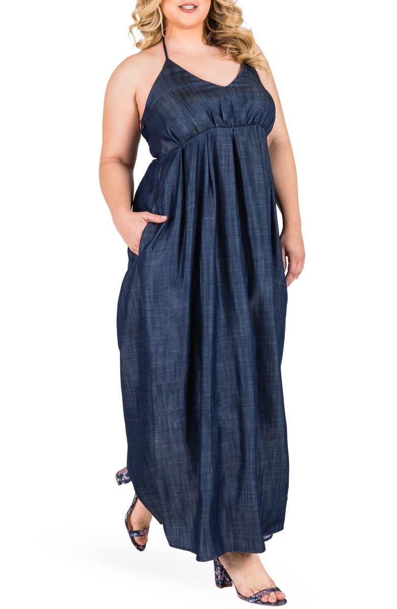 Maui Maxi Chambray Halter Dress