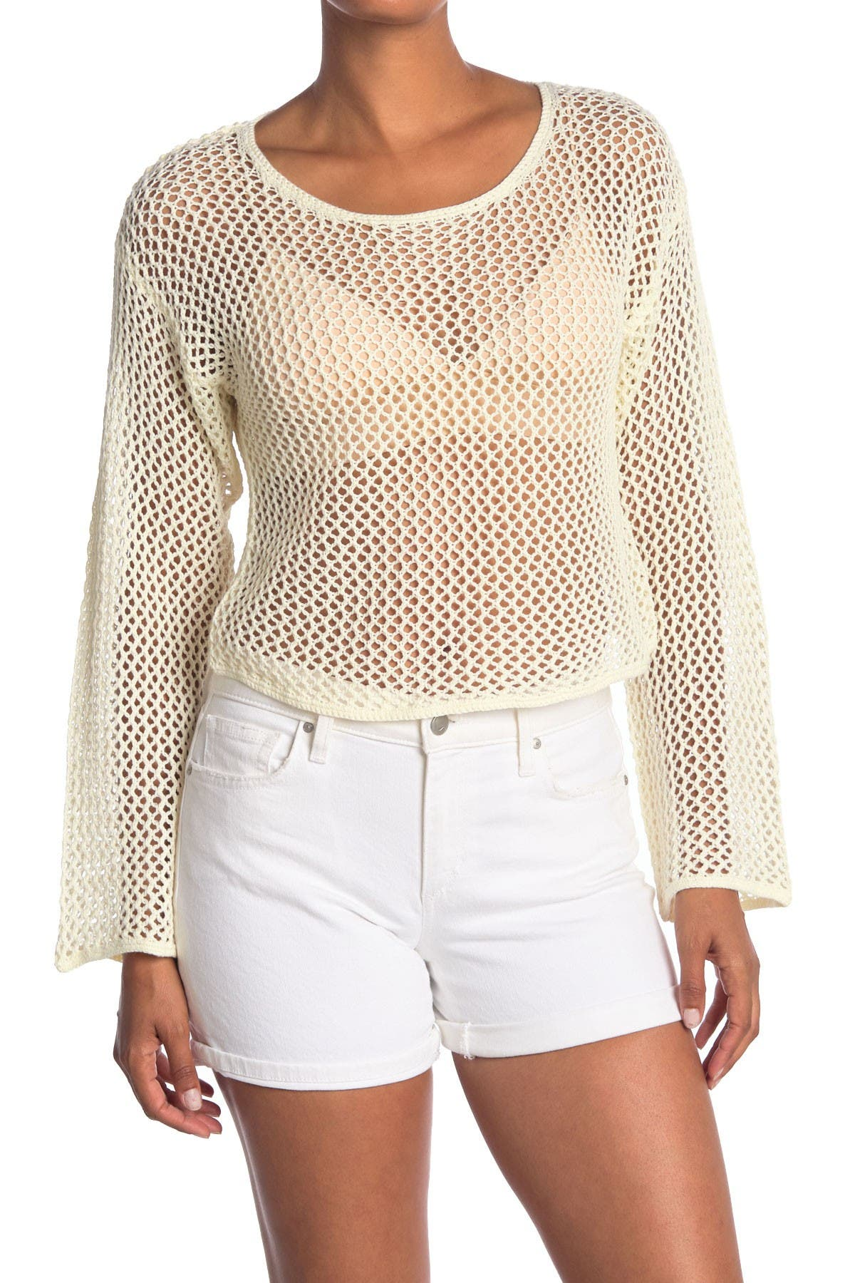 Image of WILDFOX Phoenix Crochet Knit Cropped Sweater