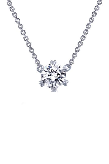Image of LaFonn Platinum Plated Sterling Silver Prong Set Simulated Diamond Solitaire Pendant Necklace