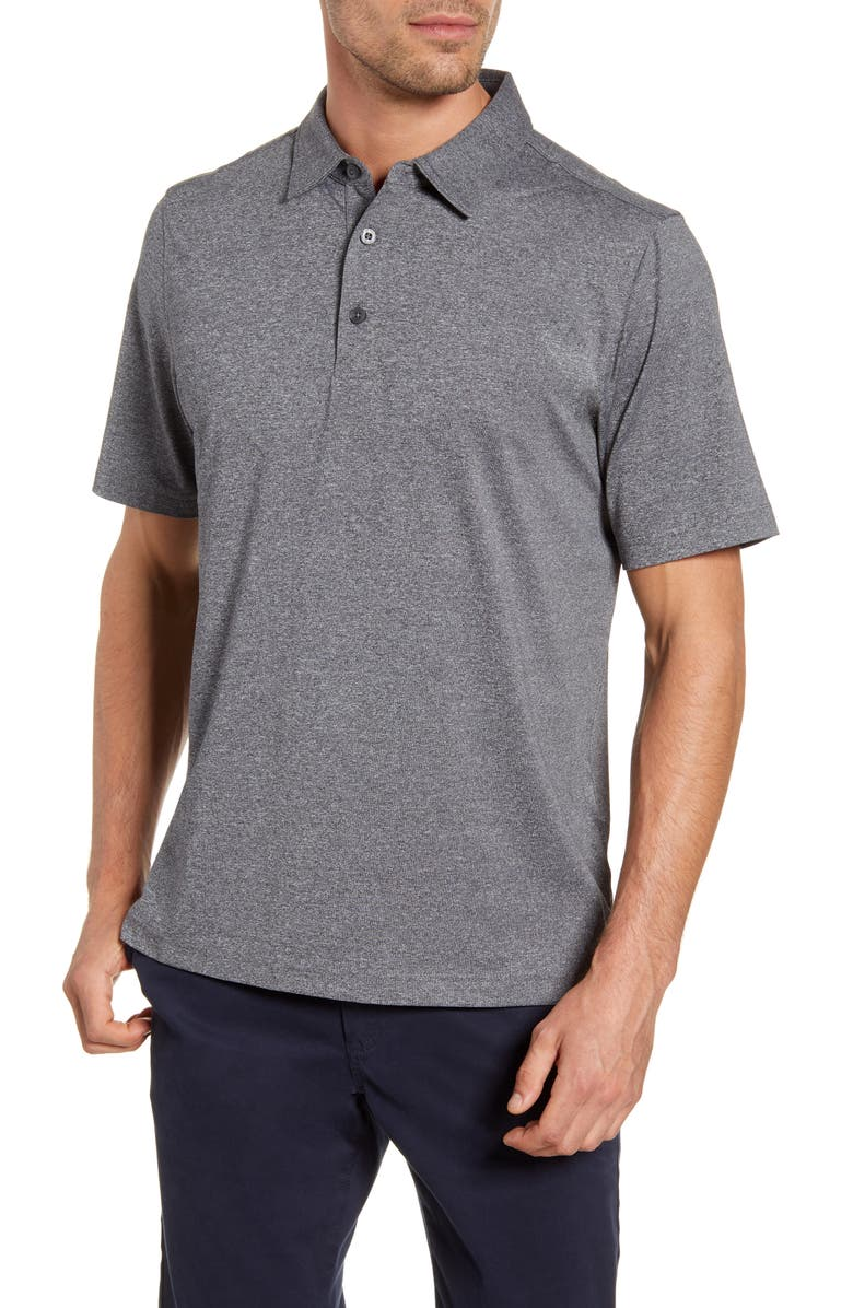 CUTTER & BUCK Forge DryTec Heathered Performance Polo, Main, color, CHARCOAL HEATHER