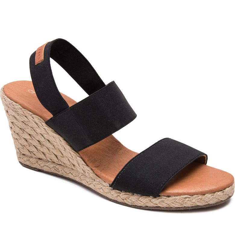 ANDRÉ ASSOUS Allison Wedge Sandal, Main, color, BLACK FABRIC