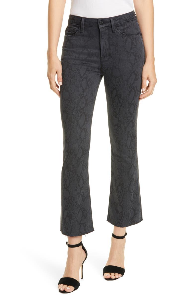 FRAME Le Crop Mini Boot High Waist Raw Edge Jeans, Main, color, TONAL PYTHON