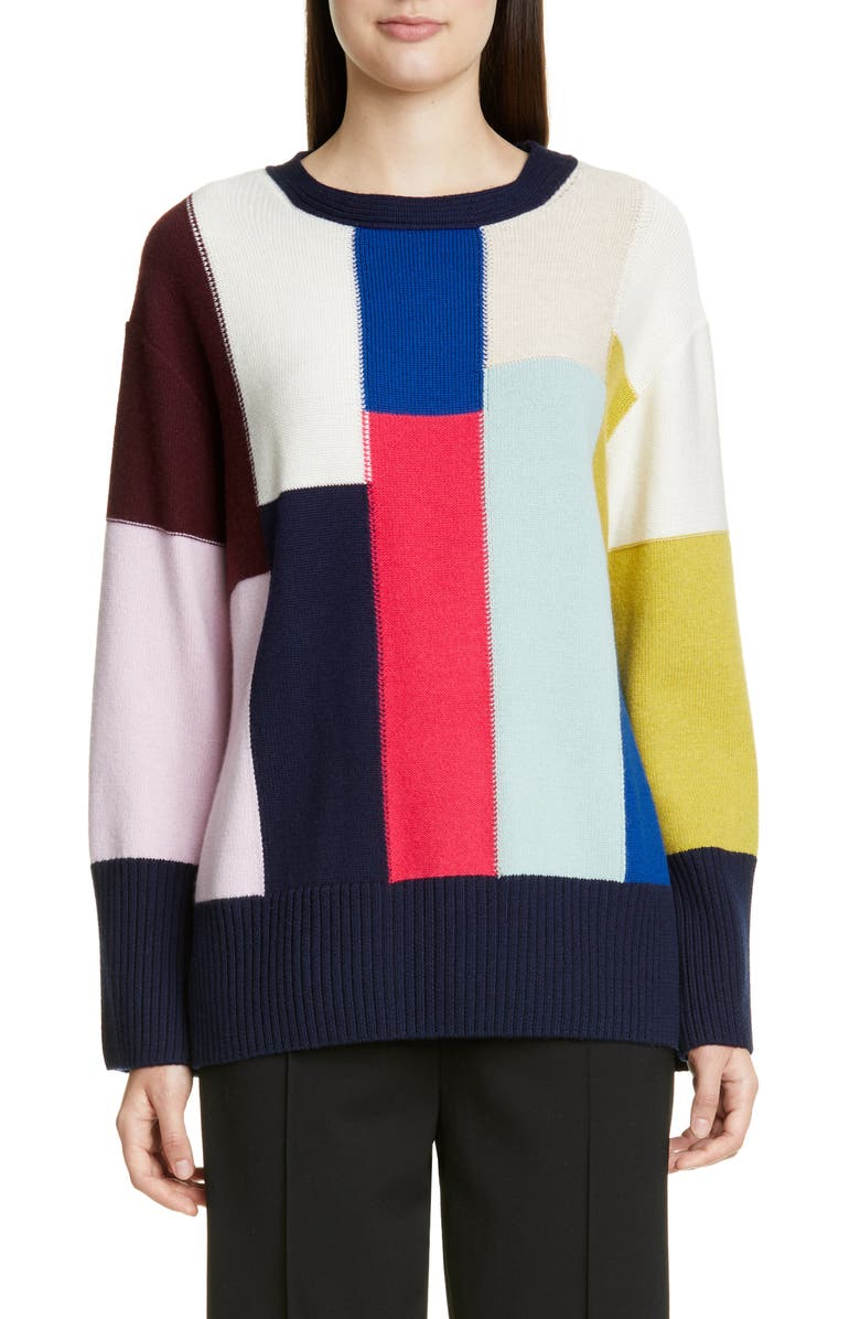 ST. JOHN COLLECTION Patchwork Wool & Cashmere Sweater, Main, color, NAVY MULTI