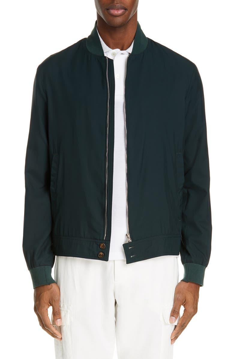 ELEVENTY Water Resistant Silk Bomber Jacket, Main, color, 300