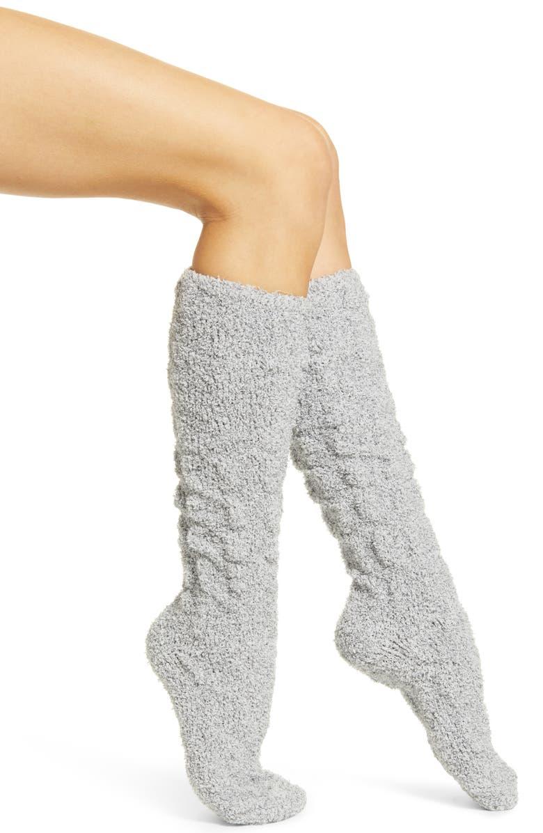 RACHEL PARCELL Knee High Butter Socks, Main, color, GREY MEDIUM HEATHER