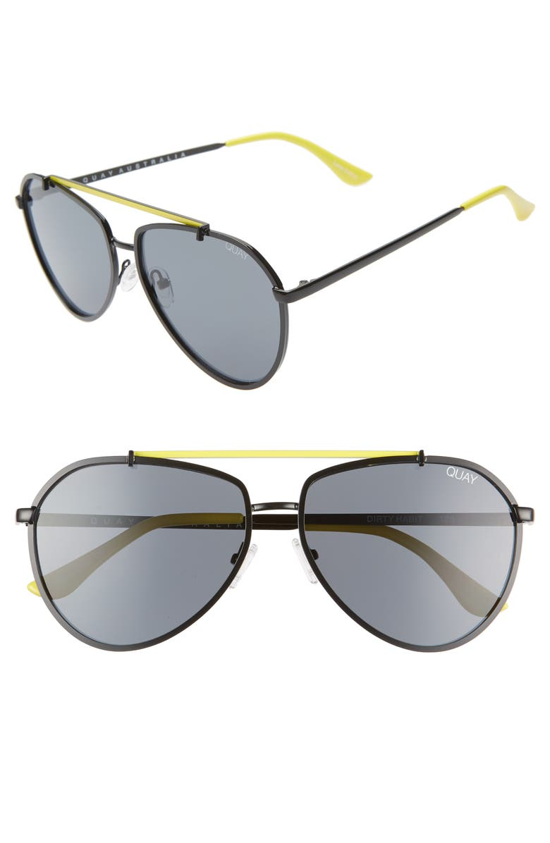 QUAY AUSTRALIA Dirty Habit 61mm Aviator Sunglasses, Main, color, 001