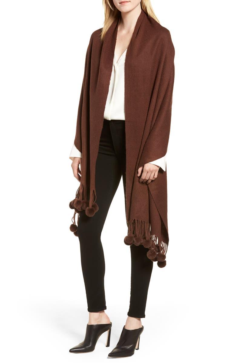 LA FIORENTINA Wool with Genuine Rabbit Trim Wrap, Main, color, BROWN