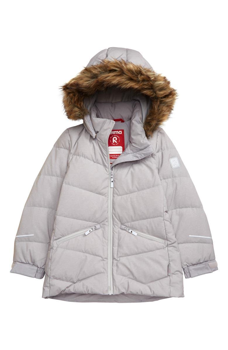 REIMA Ennus Waterproof Jacket with Faux Fur Trim, Main, color, GREY