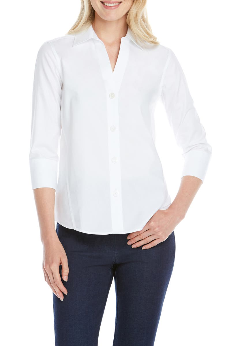 FOXCROFT Paityn Non-Iron Cotton Shirt, Main, color, WHITE