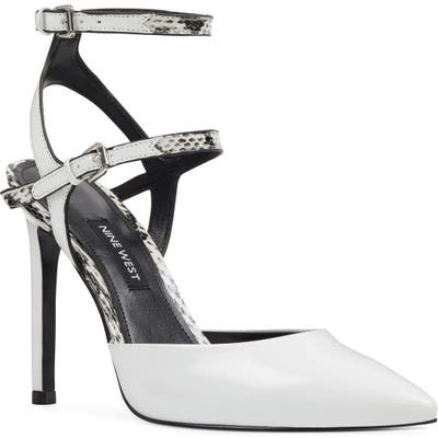 Nine West Kimi Open Back Halo Strap Pump, White