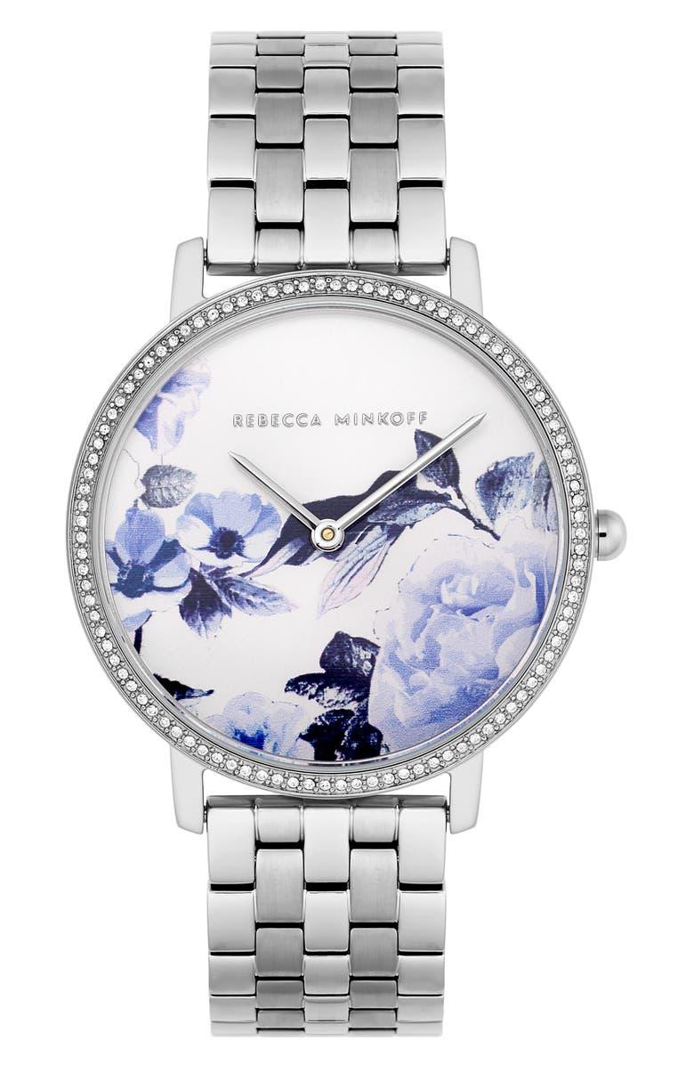 REBECCA MINKOFF Major Floral Dial Bracelet Watch, 35mm, Main, color, SILVER/ FLORAL/ SILVER