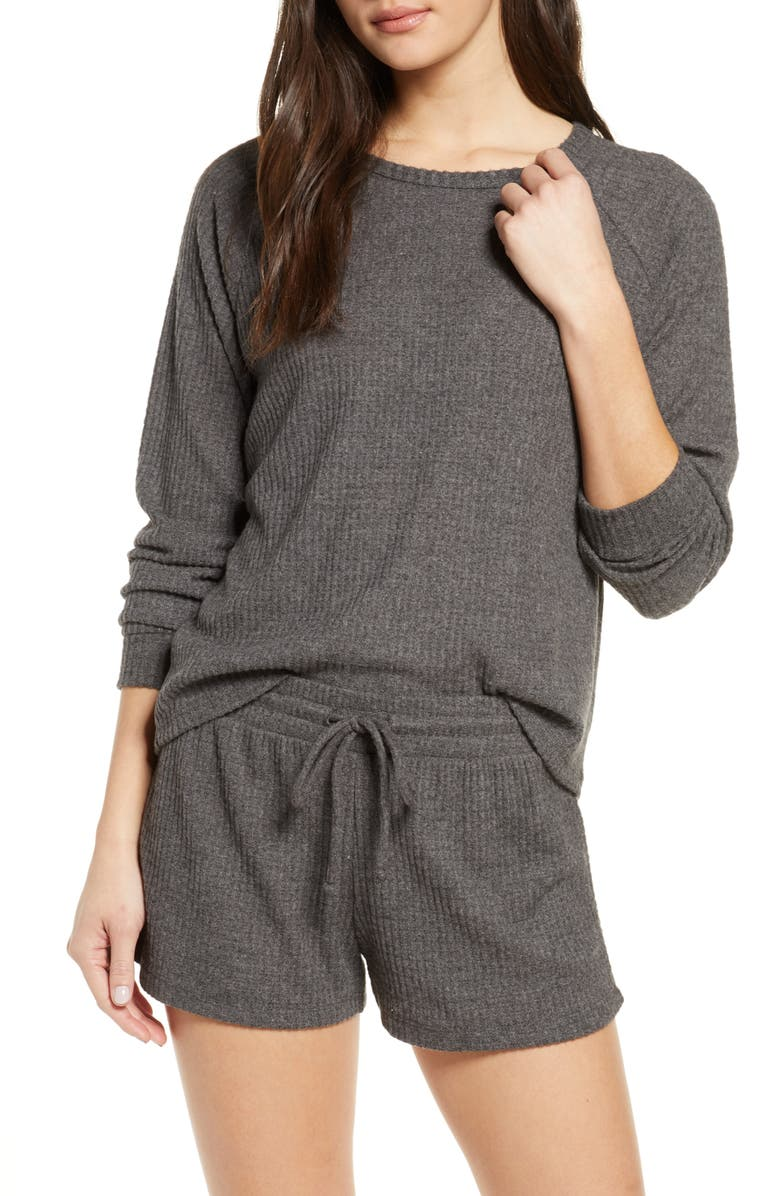 BP. Snuggle Up Thermal Short Pajamas, Main, color, GREY DARK CHARCOAL HEATHER