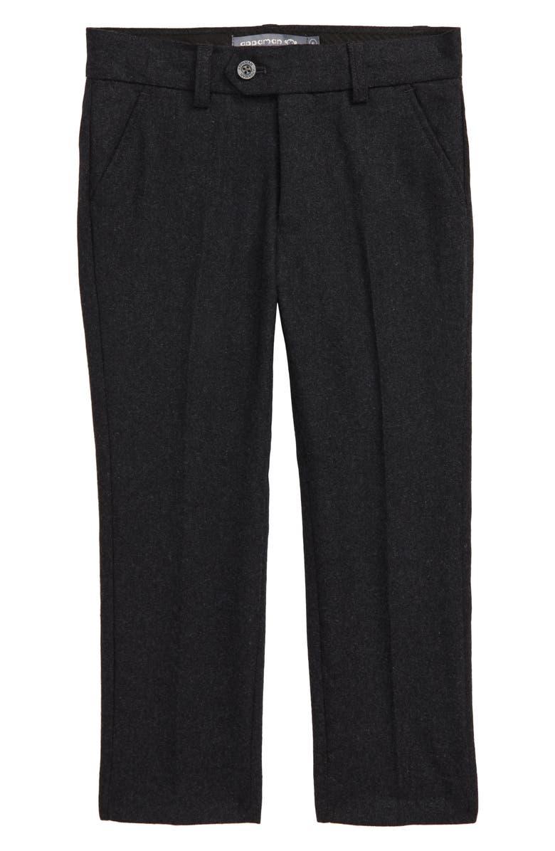 APPAMAN Slim Wool Blend Tweed Pants, Main, color, CHARCOAL