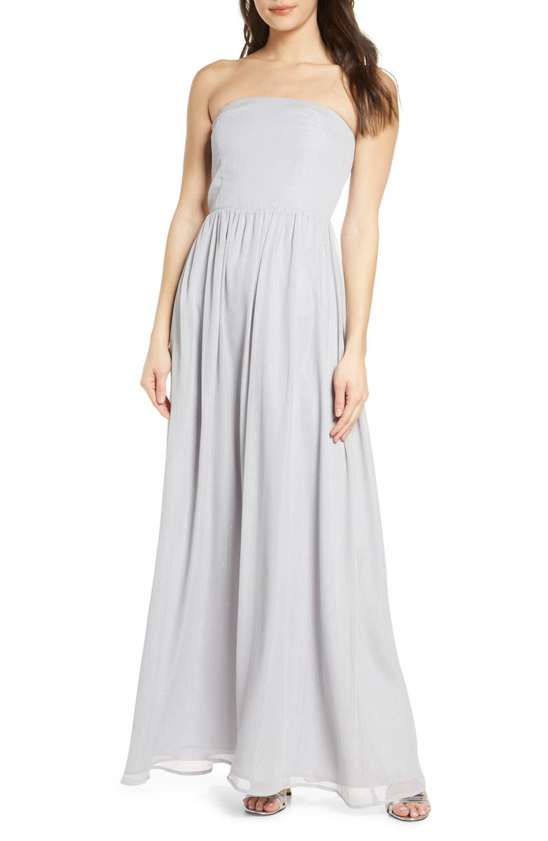 WAYF The Harlet Convertible Metallic Chiffon A-Line Gown, Main, color, 075