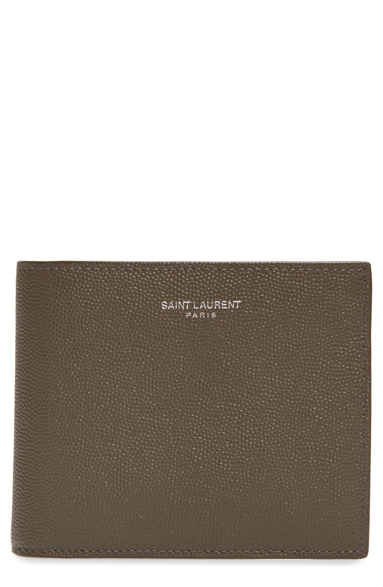 SAINT LAURENT Pebble Grain Leather Wallet, Main, color, BROWN