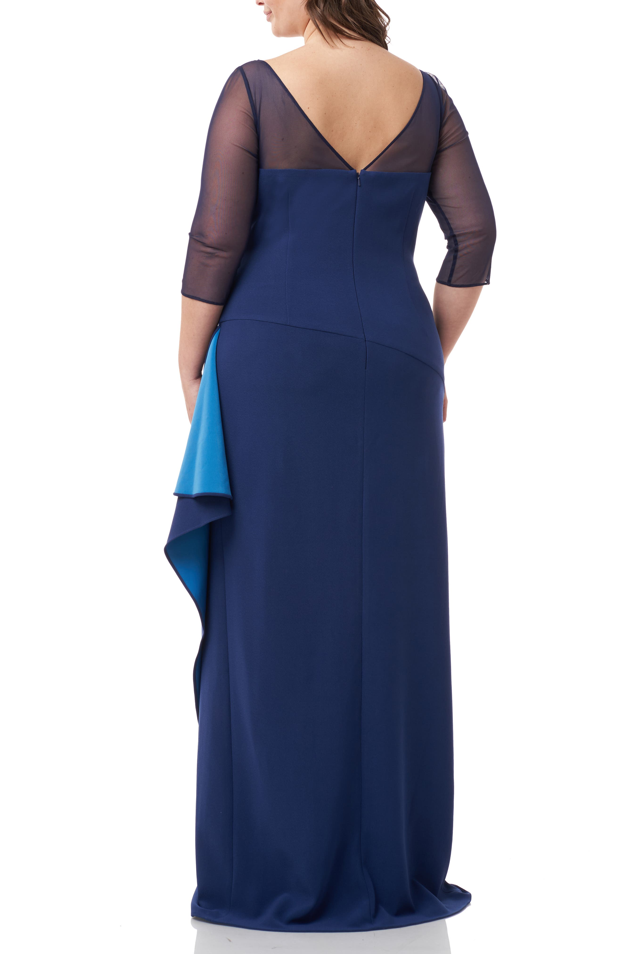 ,                             Ruched Crepe Evening Dress,                             Alternate thumbnail 2, color,                             NAVY TURQUOISE