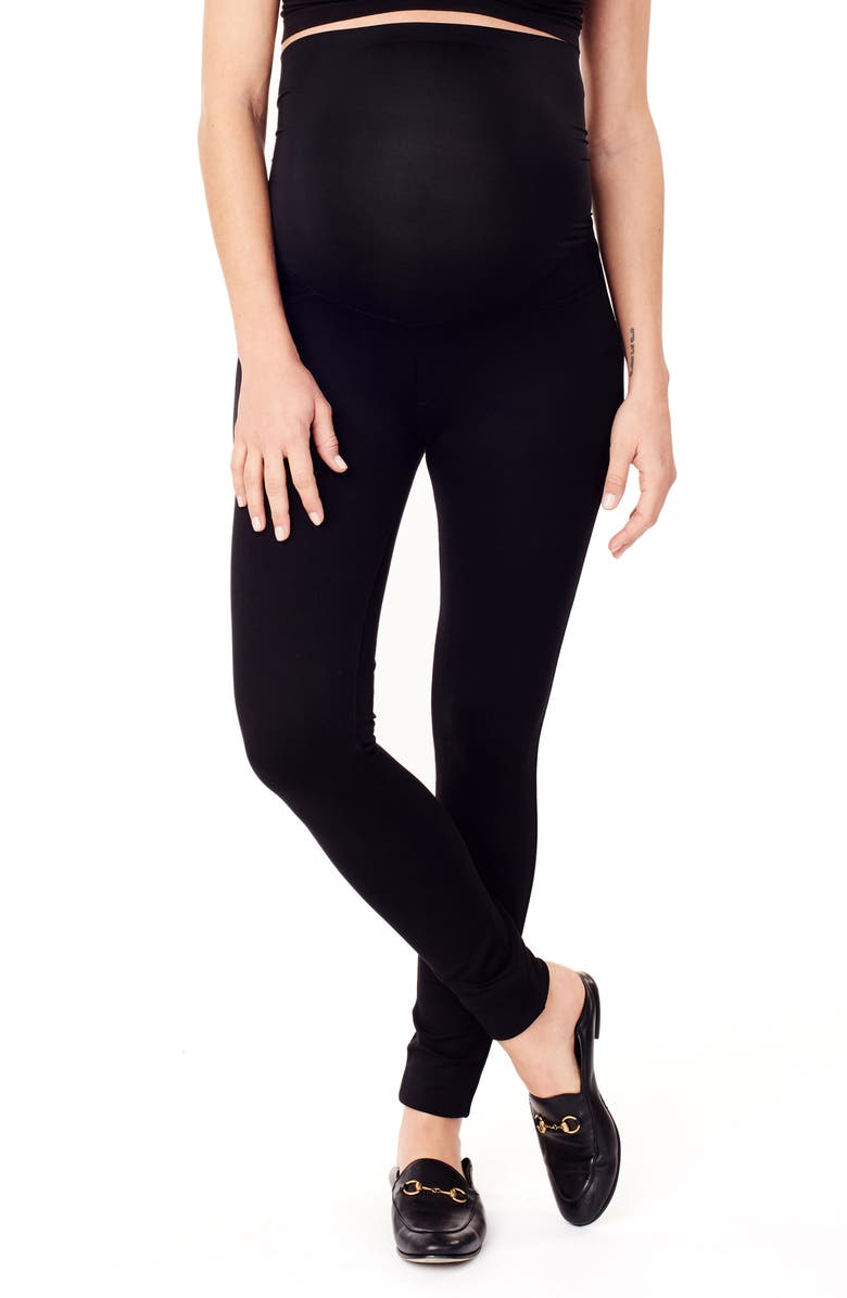 INGRID & ISABEL<SUP>®</SUP> Ponte Knit Skinny Maternity Ankle Leggings, Main, color, JET BLACK
