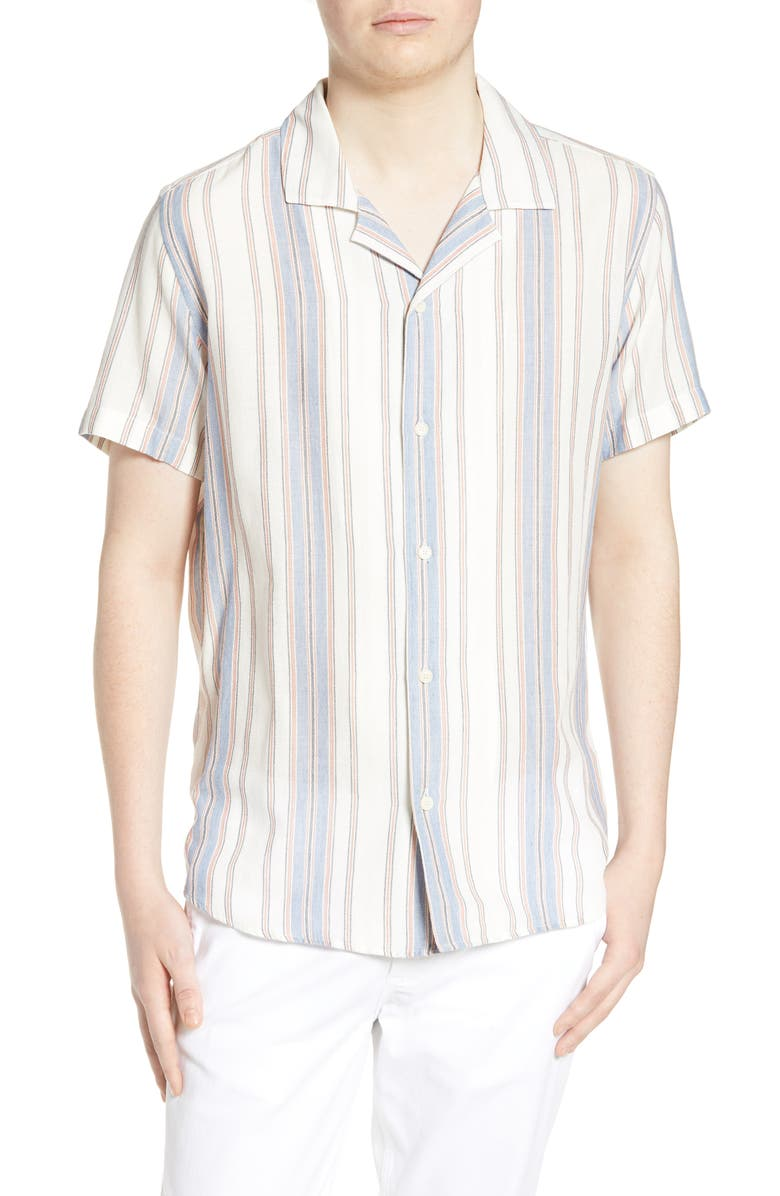 WAX LONDON Didcot Slim Fit Stripe Short Sleeve Shirt, Main, color, 250