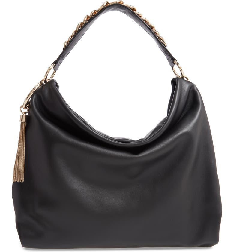 JIMMY CHOO Callie Leather Hobo, Main, color, BLACK/ GOLD