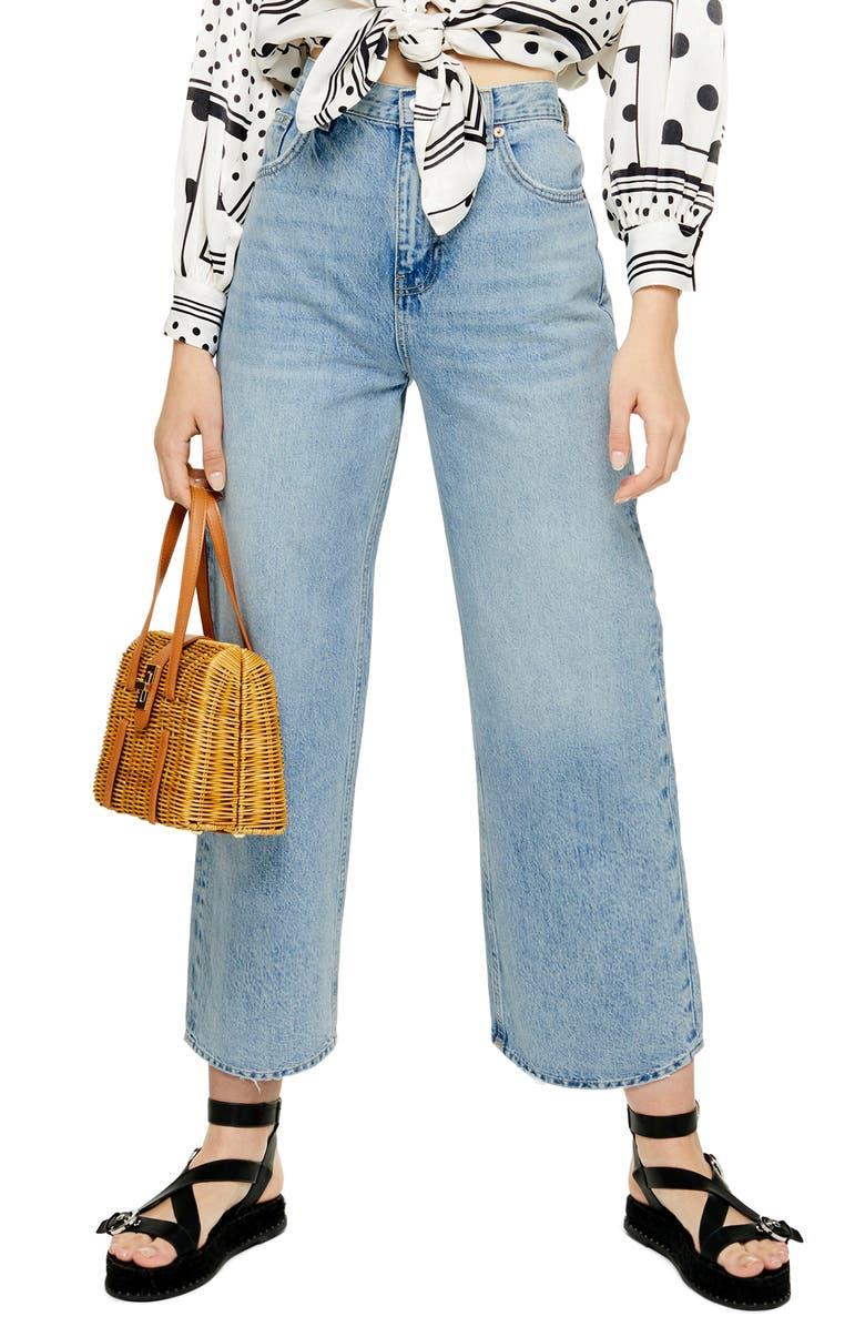 TOPSHOP Wide Leg Crop Jeans, Main, color, 400