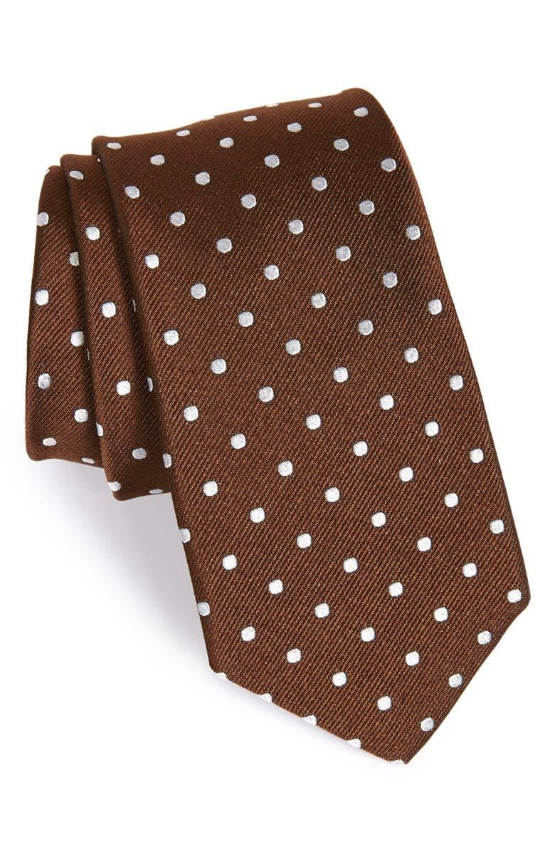 GITMAN Polka Dot Silk Tie, Main, color, 200
