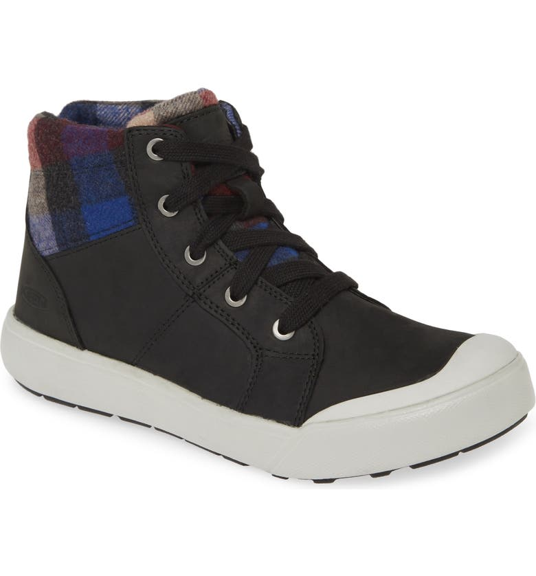 KEEN Elena Insulated High Top Sneaker, Main, color, BLACK/ PLAID LEATHER