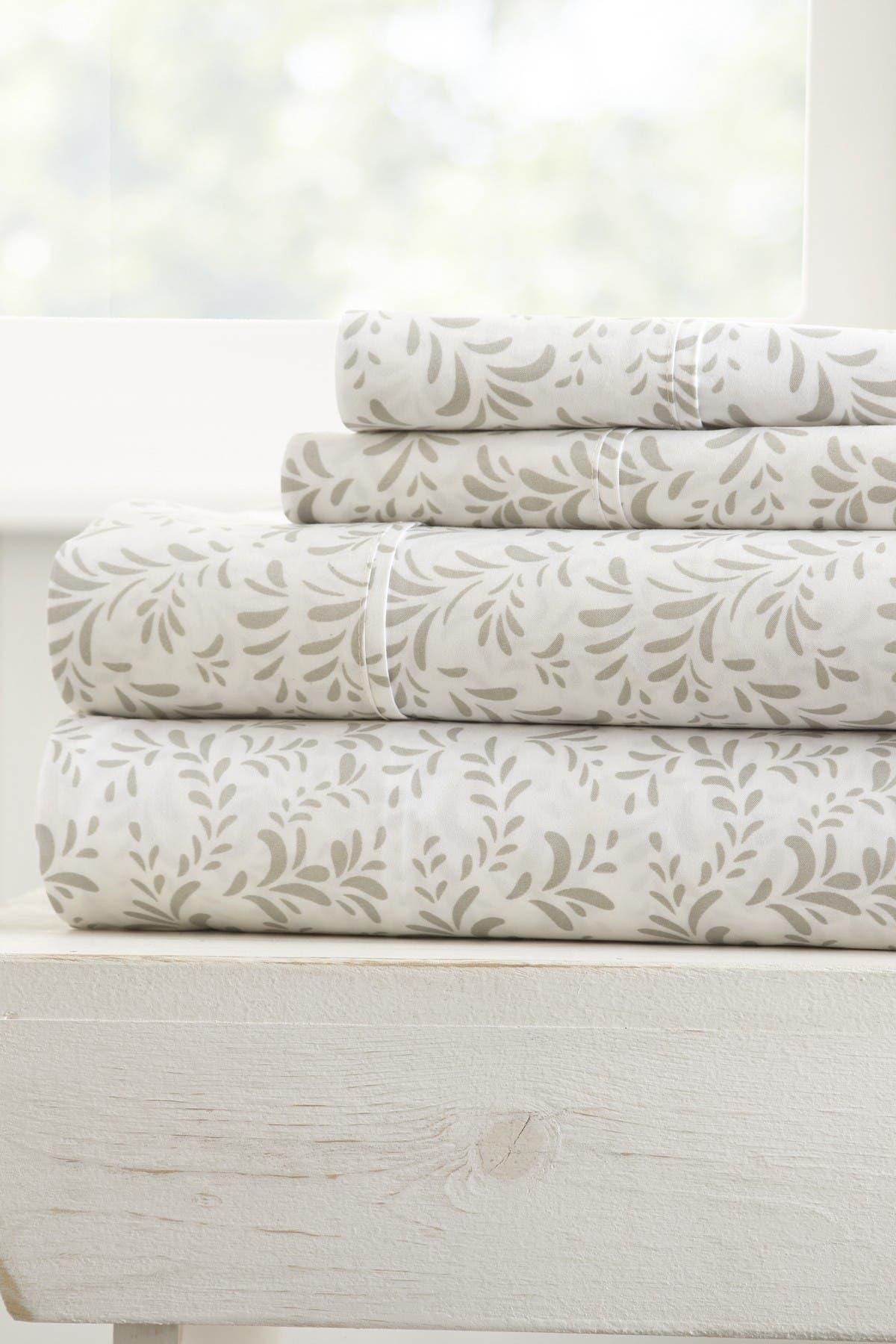 Image of IENJOY HOME The Home Spun Premium Ultra Burst of Vines Pattern 4-Piece King Bed Sheet Set - Gray