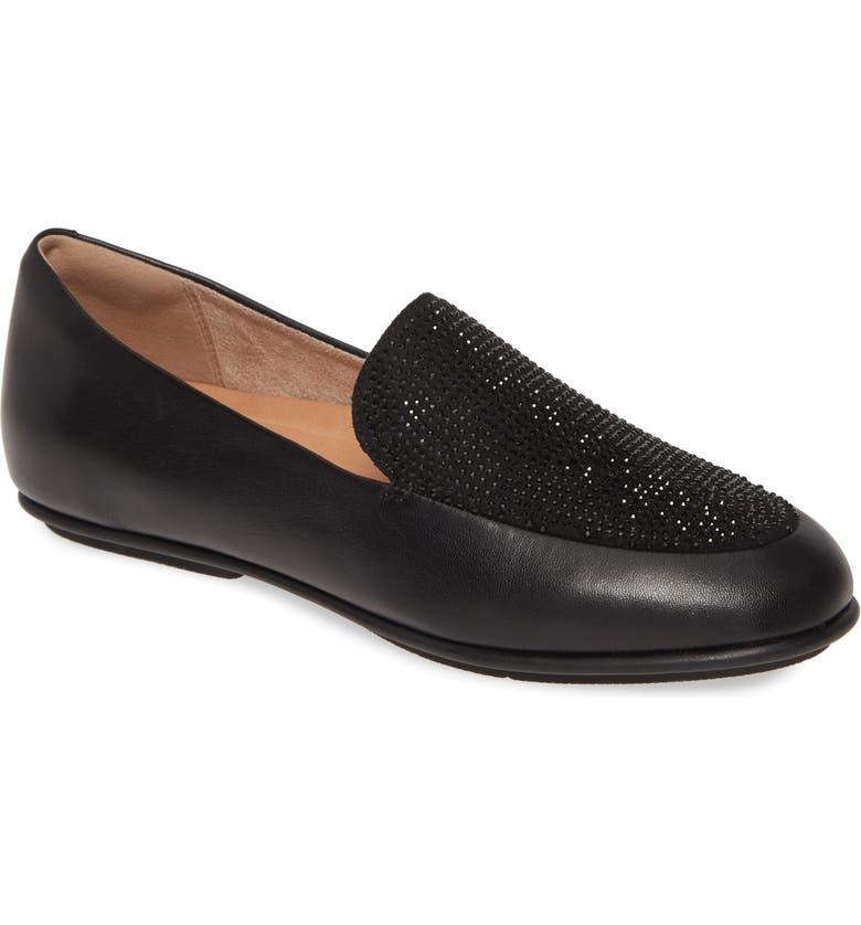 FITFLOP Lena Crystal Embellished Loafer, Main, color, ALL BLACK LEATHER
