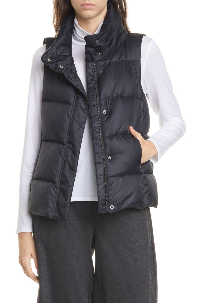 EILEEN FISHER Down Puffer Vest, Main, color, BLACK