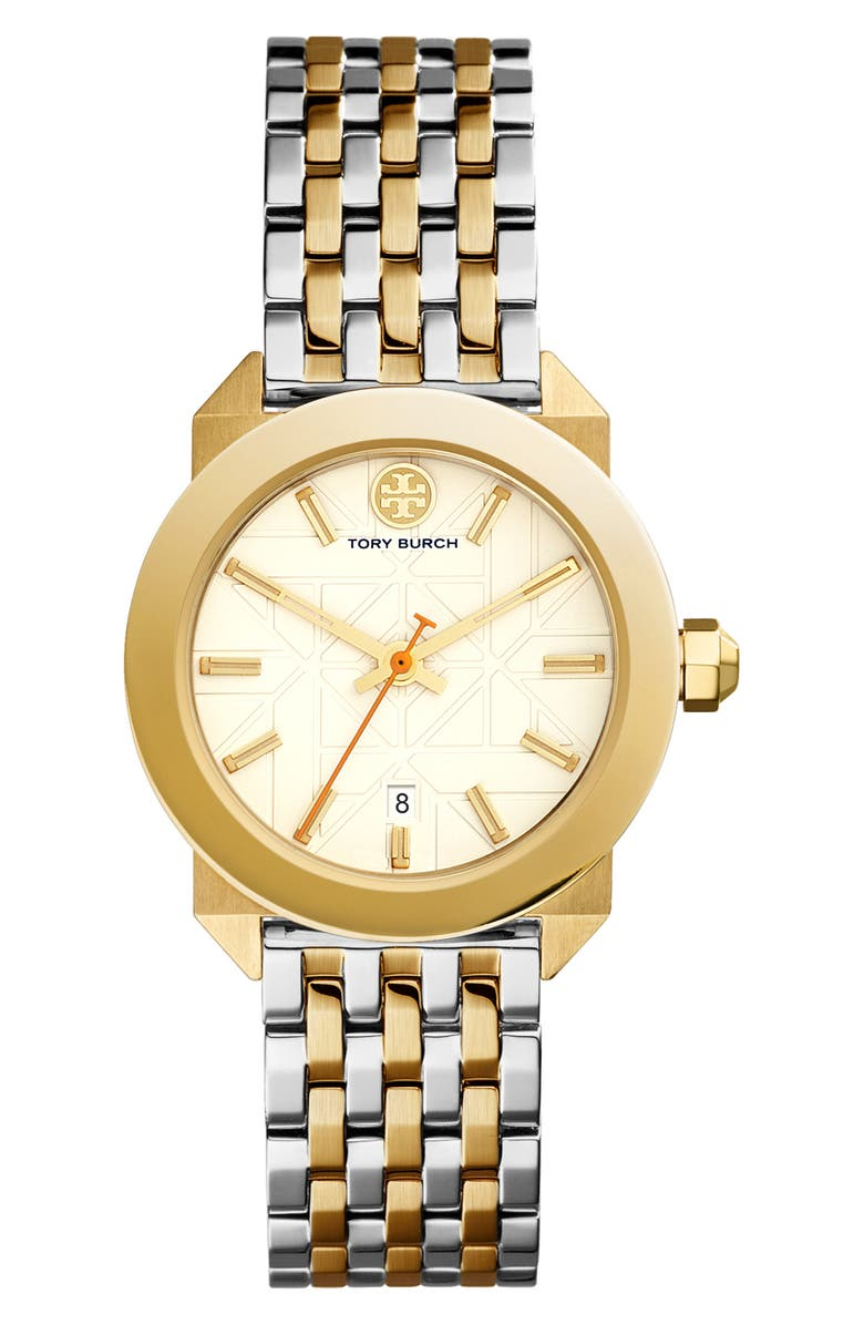 TORY BURCH Whitney Bracelet Watch, 35mm, Main, color, GOLD/ IVORY/ SILVER