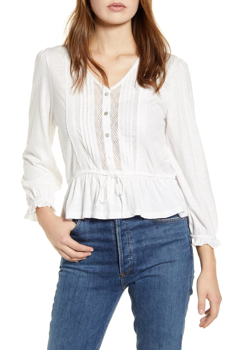 LUCKY BRAND Lace Inset Tie Waist Cotton Blouse, Main, color, BRIGHT WHITE