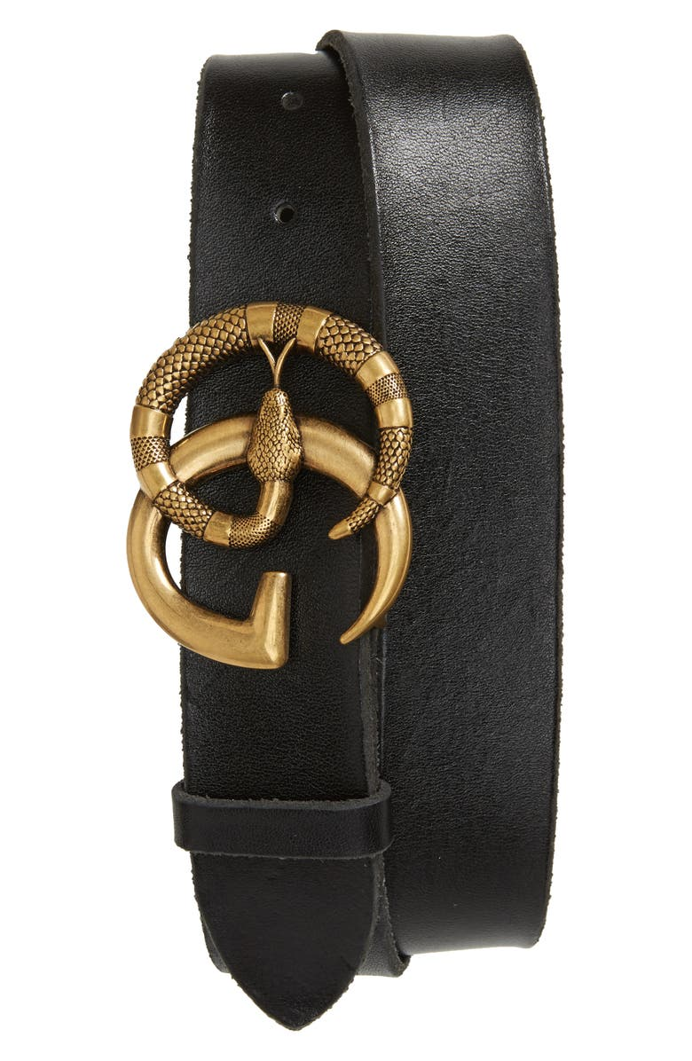 463efb6d0aa1a GG Marmont Snake Buckle Leather Belt, Main, color, 001